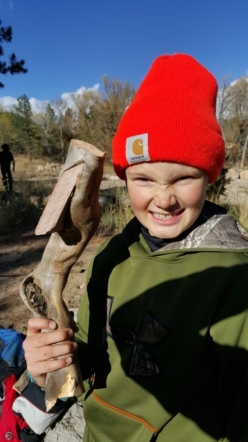 Wyatt with his primitive Stone Hatchet