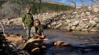 Buddies! Wyatt and Satya take a break from tracking to enjoy Left Hand Creek