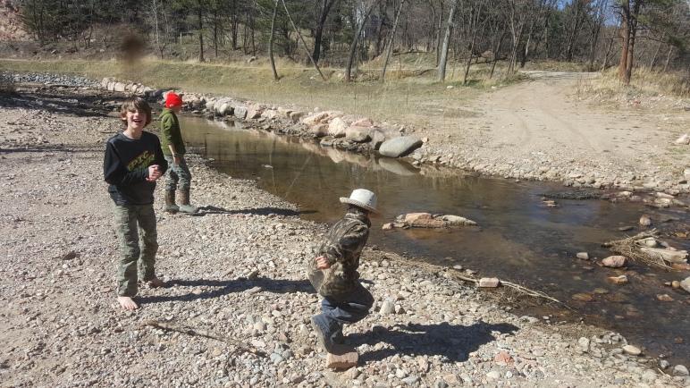Practicing skipping rocks
