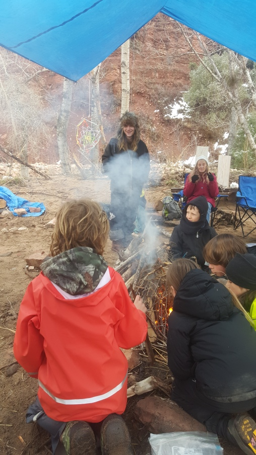 Getting the fire going for the Village